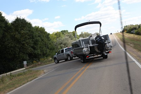 Pontoon Trailer on the road