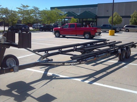 Pontoon trailer with tritoon kit